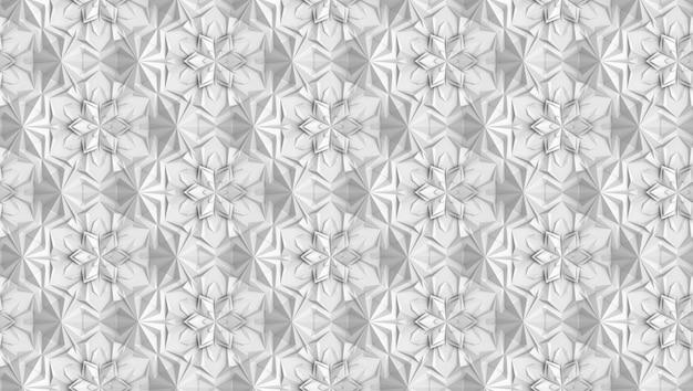 Padrão de geometria de luz tridimensional com flores de seis pontas Foto Premium