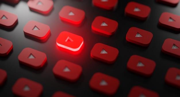 Padrão de logotipo brilhante do youtube Foto Premium