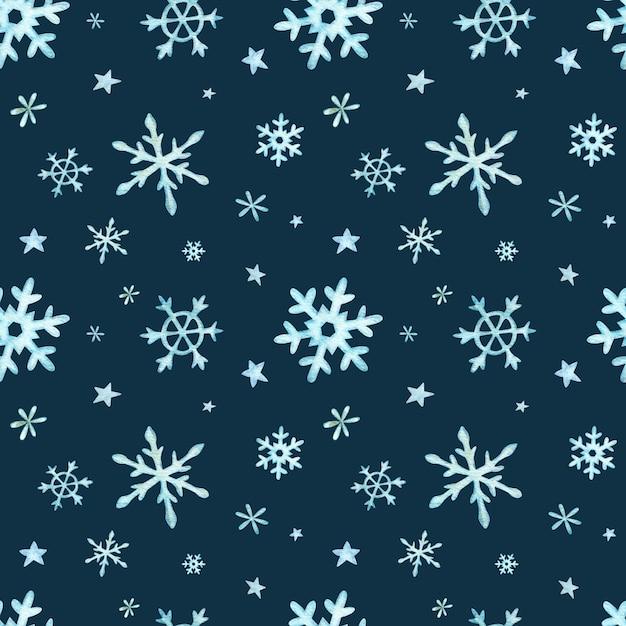 Padrão de natal de luz azul caindo flocos de neve Foto Premium