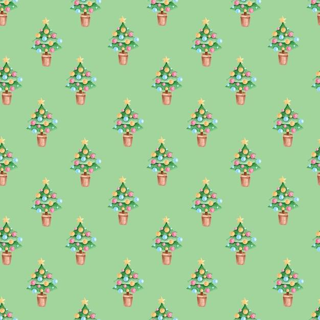 Padrão sem emenda com ilustrações em aquarela de natal sobre fundo verde. Foto Premium