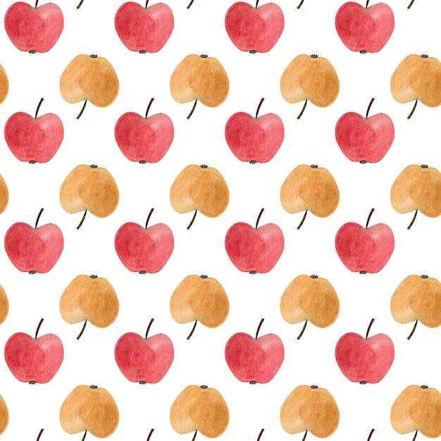 Padrão sem emenda com maçãs aquarela vermelhas e amarelas. Foto Premium
