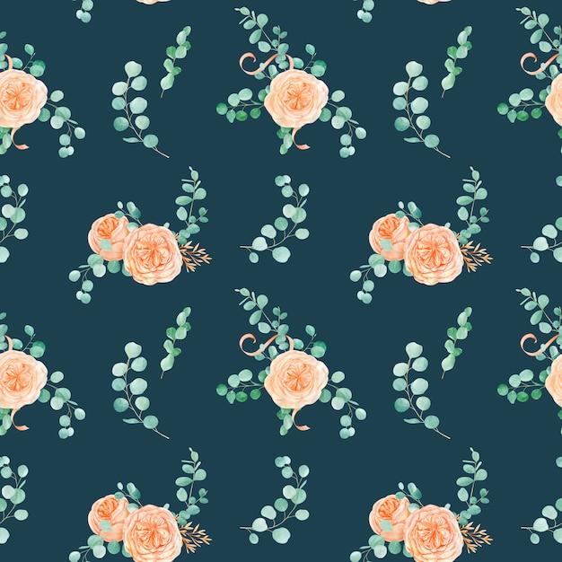 Padrão sem emenda com pêssego e laranja com inglês rose austin flor e fundo de eucalipto e eucalipto Foto Premium