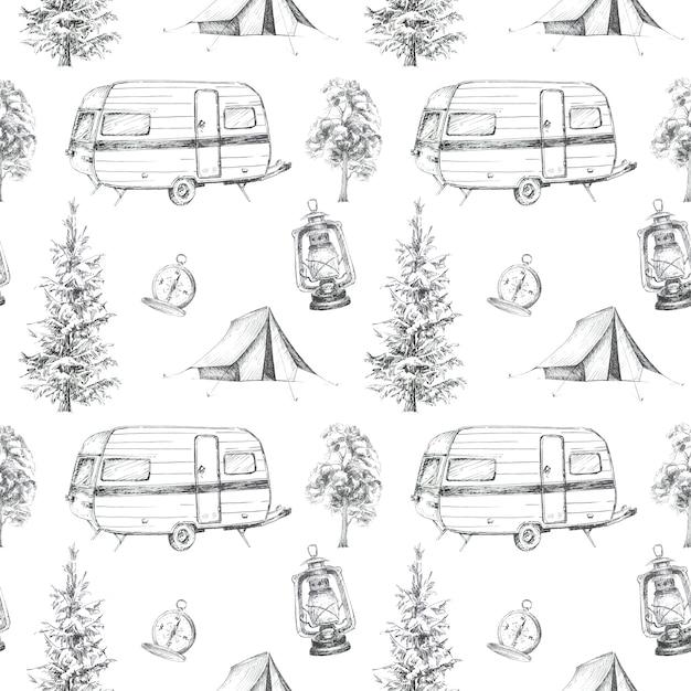 Padrão sem emenda com tema acampamento gráfico. barraca de acampamento, bússola vintage, ilustrações de van. conjunto de design de conceito de viagem. Foto Premium