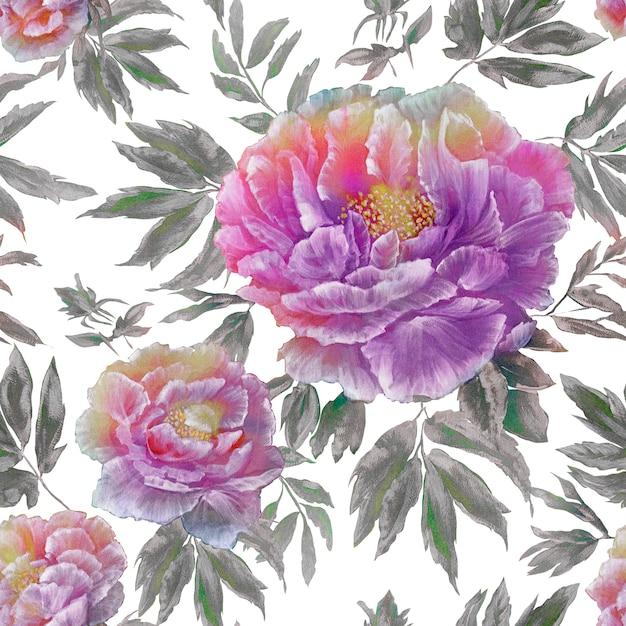 Padrão sem emenda da linda flor azul flores com folhas e botões Foto Premium