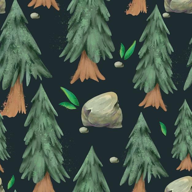 Padrão sem emenda de aquarela pinheiro, floresta perene textura de natal Foto Premium