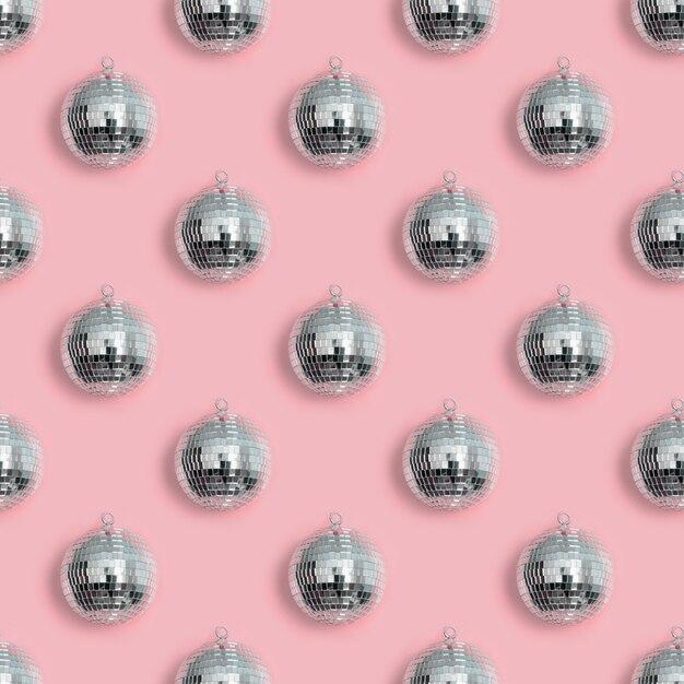 Padrão sem emenda de bola de discoteca de natal em rosa Foto Premium
