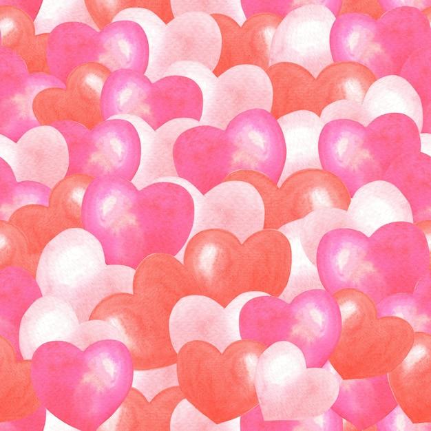 Padrão sem emenda de corações rosa, vermelho aquarela. fundo romântico. ilustração bonita de aquarela para dia dos namorados. Foto Premium