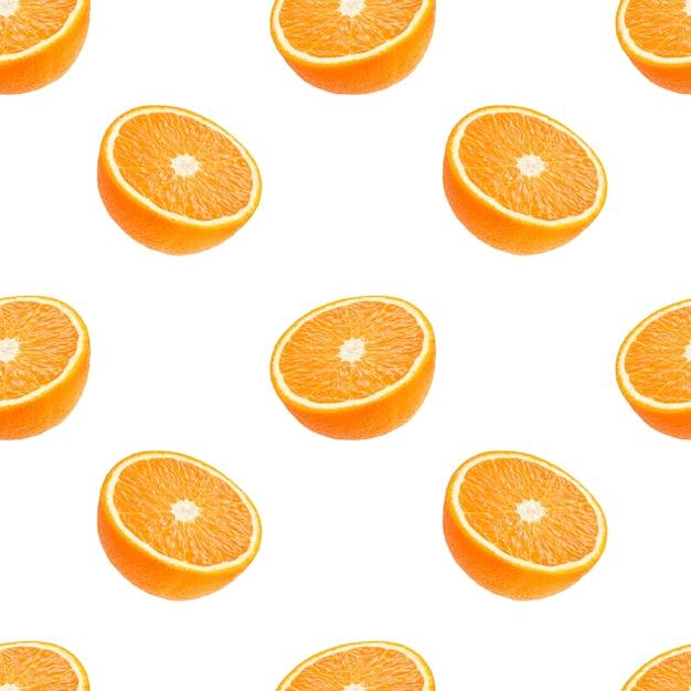 Padrão sem emenda de fruta laranjas isolado no branco Foto Premium