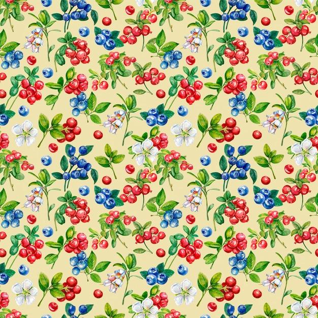 Padrão sem emenda de frutos silvestres. lingonberry, boldo, flores Foto Premium