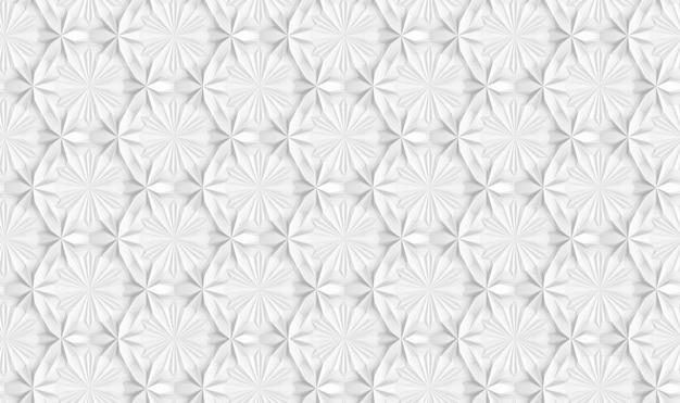 Padrão sem emenda de geometria de luz tridimensional com flores de seis pontas Foto Premium
