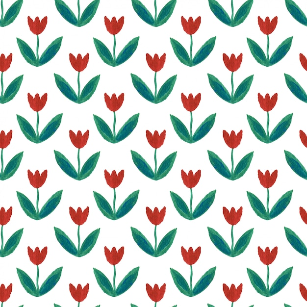Padrão sem emenda de guache com tulipas. Foto Premium