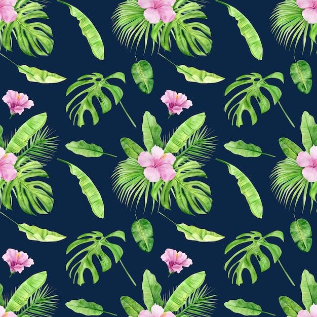 Padrão sem emenda de ilustração em aquarela de folhas tropicais e hibiscos de flores. Foto Premium