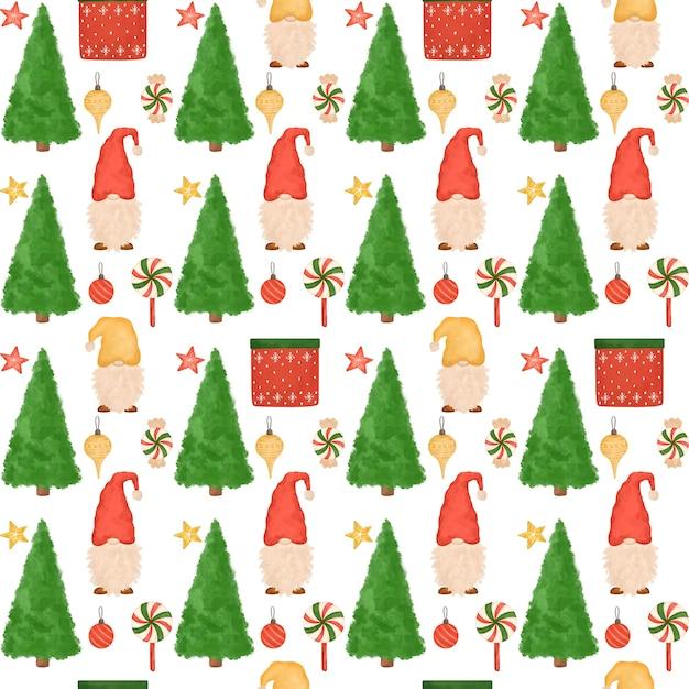 Padrão sem emenda de natal, gnomos de desenho animado, árvores de natal, doces, fundo de ano novo desenhado à mão Foto Premium