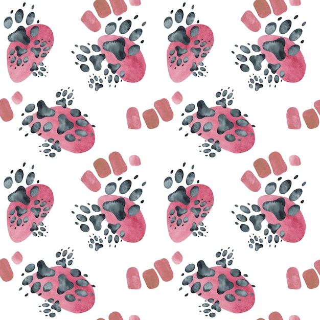 Padrão sem emenda de pegadas de cão em pontos-de-rosa. ilustração em aquarela. Foto Premium