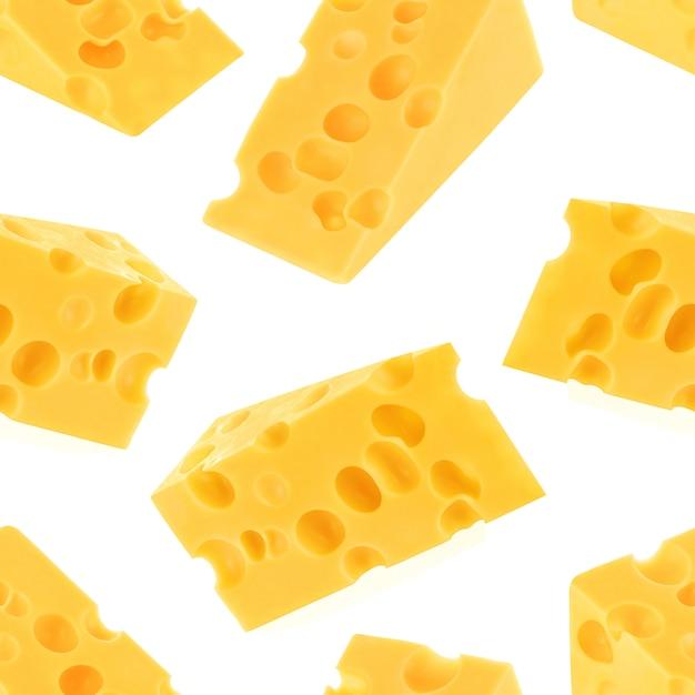 Padrão sem emenda de queijo isolado no fundo branco Foto Premium
