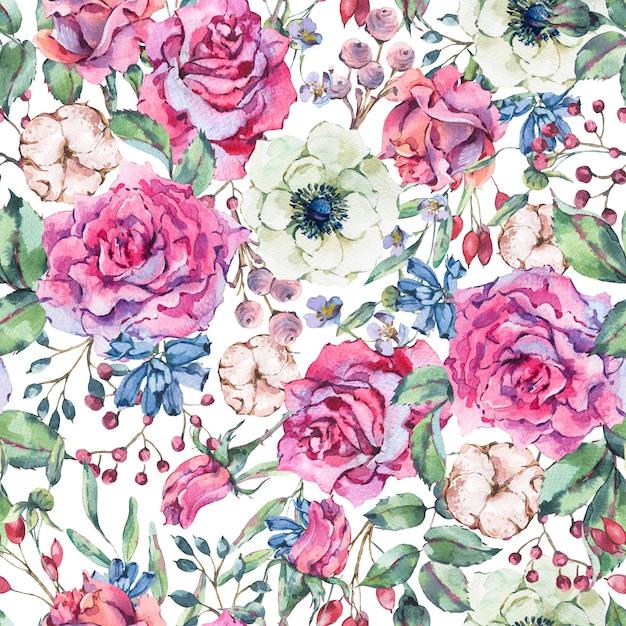 Padrão sem emenda em aquarela de natureza com rosa, anêmona, algodão Foto Premium