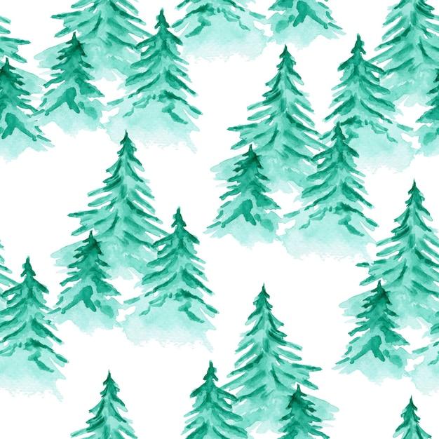 Padrão sem emenda em aquarela fofo com pinheiros coníferos verdes esmeraldas Foto Premium