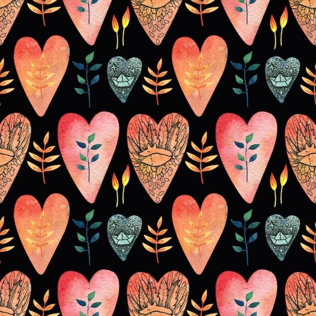 Padrão sem emenda preto com corações coloridos (vermelhos, laranja, azuis) com a imagem de uma raposa fofa, um mosquetão, folhas e flores. Foto Premium
