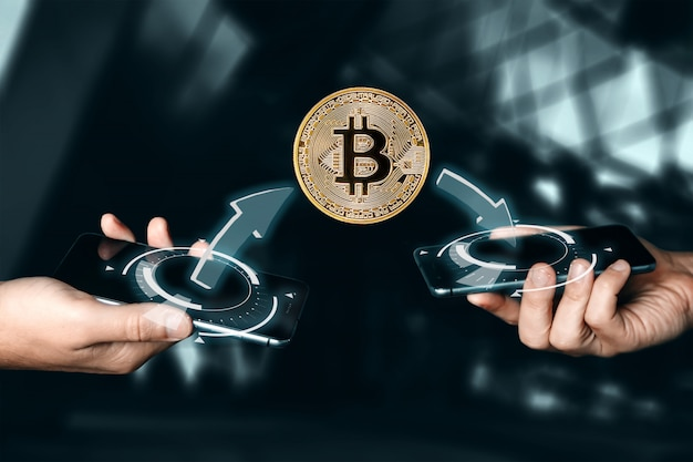 Pagamento de bitcoin de moeda de ouro. moeda criptográfica. tecnologia blockchain .. Foto Premium