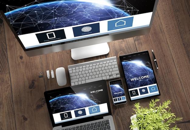 Página de destino on-line de dispositivos de madeira para desktop responsiva Foto Premium