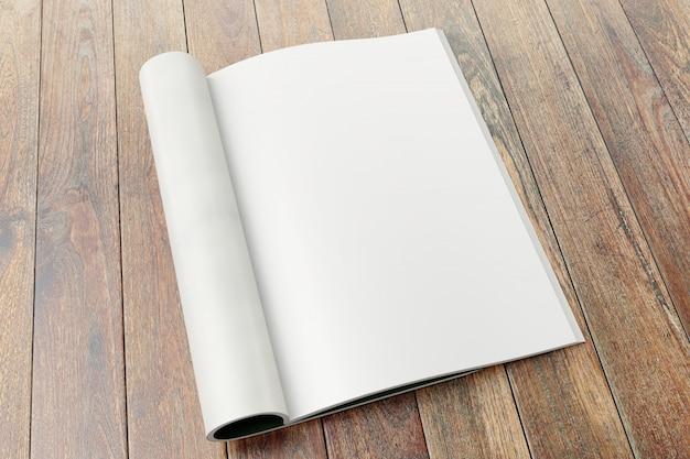 Páginas em branco da revista no fundo de madeira. Foto Premium