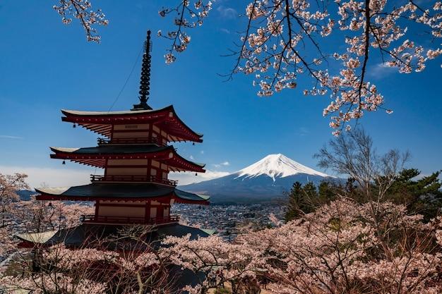 Pagode de chureito e mt. fuji na primavera com flores de cerejeira em fujiyoshida, japão. Foto Premium