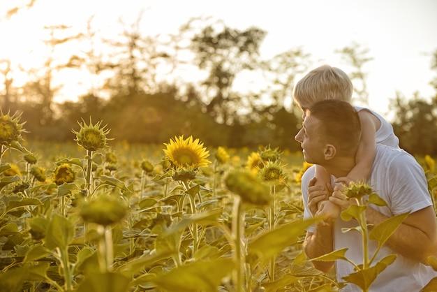 Pai com filho nas costas, andando em um campo verde de girassóis florescendo ao pôr do sol Foto Premium