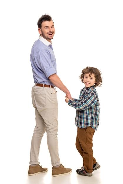 Pai filho, ficar Foto Premium