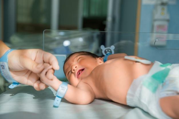 Pai segura a mão do bebê recém-nascido em fraldas Foto gratuita