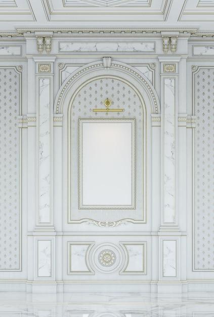 Painéis cinzelados de madeira brancos no estilo clássico com inserções de mármore. Foto Premium