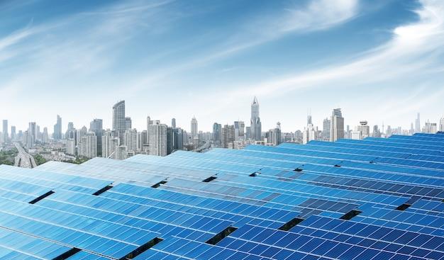 Painéis solares urbanos, xangai, china. Foto Premium