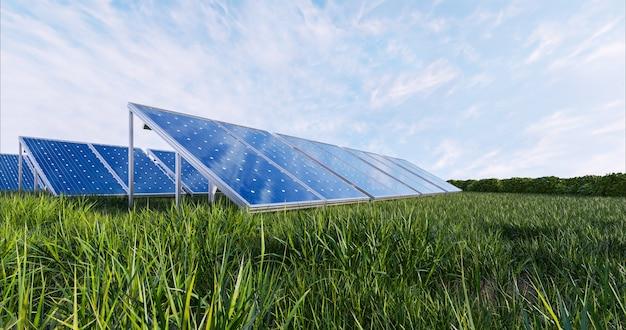 Painel de energia solar no fundo do céu, renderização 3d Foto gratuita