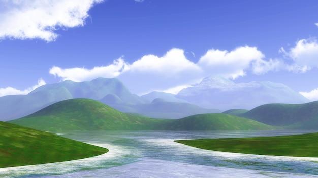 Paisagem 3d com colinas gramadas e azul céu nublado Foto gratuita