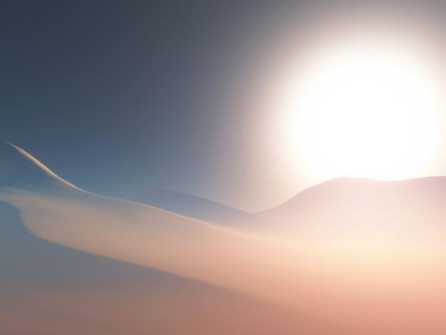 Paisagem 3d de uma cena nebulosa do deserto ao pôr do sol Foto gratuita