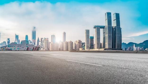 Paisagem arquitetônica moderna e horizonte urbano Foto Premium