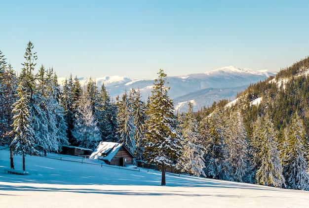 Paisagem bonita do inverno nas montanhas com caminho de neve nas estepes e pequena casinha. Foto Premium