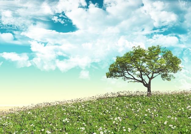 Paisagem com árvore Foto gratuita