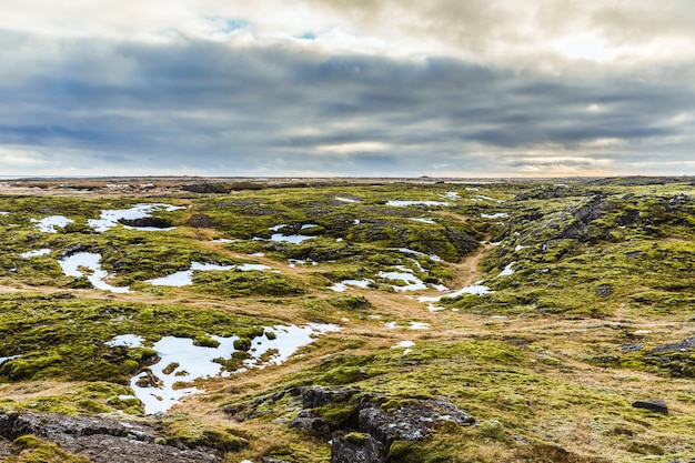 Paisagem da islândia: rochas, musgo e neve Foto Premium