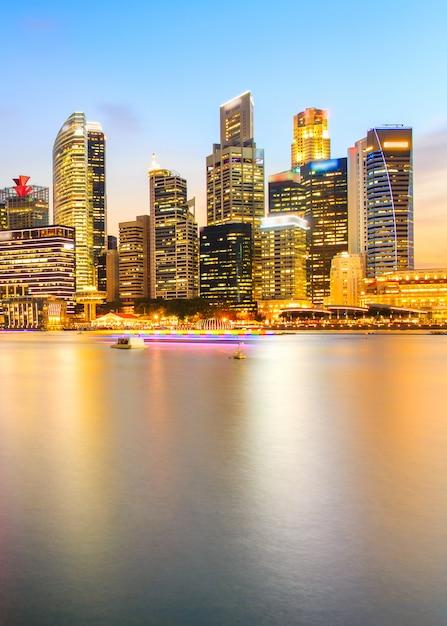Paisagem, de, a, distrito financeiro cingapura, e, edifício negócio Foto Premium