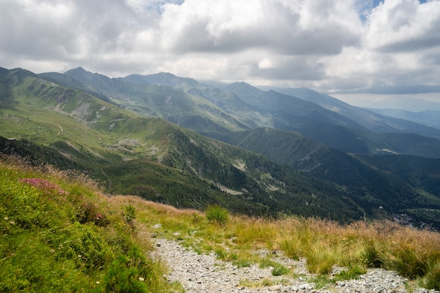 Paisagem de colinas cobertas de vegetação com montanhas rochosas sob um céu nublado ao fundo Foto gratuita