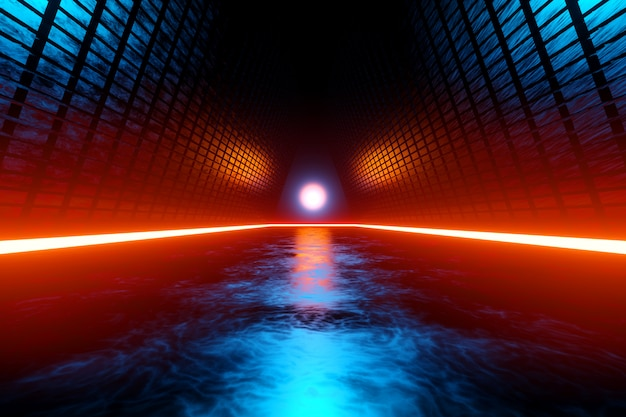 Paisagem de ficção científica com arquitetura alienígena Foto Premium