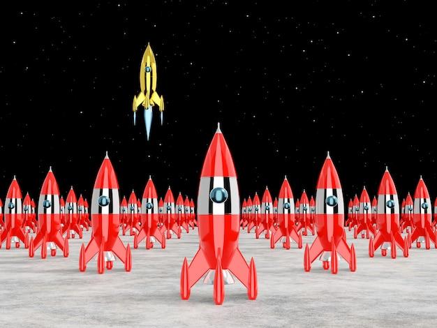 Paisagem de foguete espacial com um foguete lançado Foto Premium