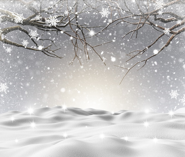 Paisagem de neve 3d com árvores de inverno Foto gratuita