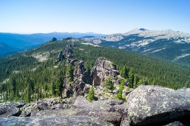 Paisagem de picos de montanhas com pedras e floresta Foto Premium