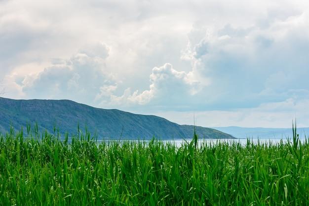 Paisagem do mar com mountines e bastões, céu azul com nuvens, sem o sol, cazaquistão Foto Premium