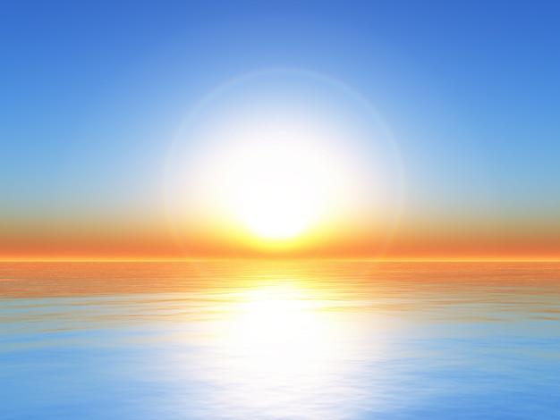 Paisagem do oceano do sol 3d Foto gratuita