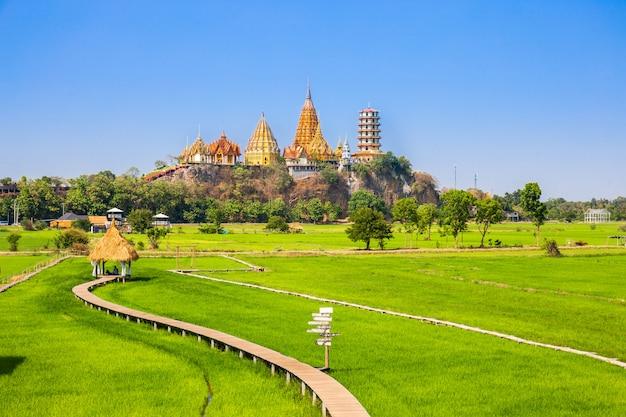 Paisagem do templo wat tham sua (templo da caverna do tigre) com campos de arroz de jasmim Foto Premium