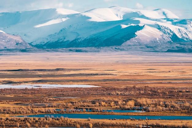 Paisagem incrível da área de estepe com lagos e árvores suavemente se transformando em montanhas com picos cobertos de neve. montanhas de altai Foto Premium