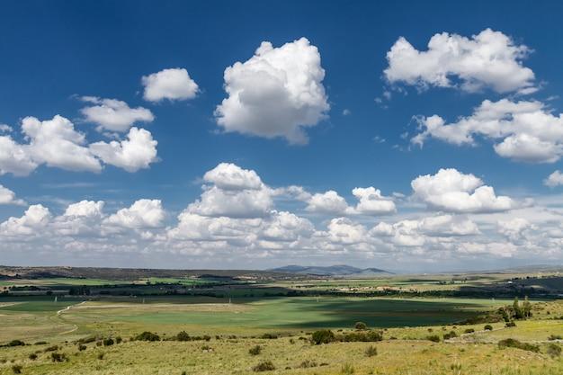 Paisagem nublada de um prado Foto Premium