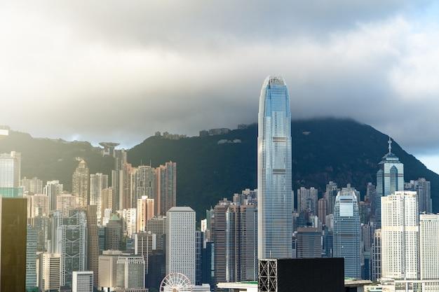 Paisagem urbana da cidade de hong kong Foto Premium